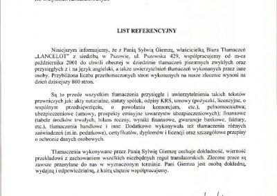 List referencyjny- Awangarda Biuro Tłumaczeń Sylwia Tomczyk