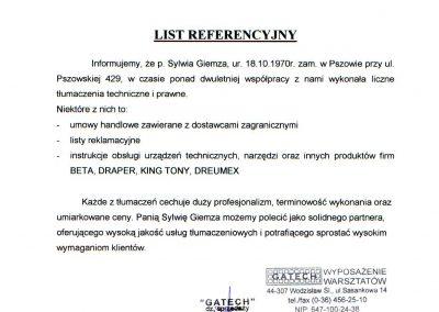List referencyjny-Gatech Biuro Tłumaczeń Lancelot