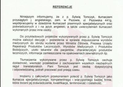 List referencyjny - Intertranslate Biuro Tłumaczen Sylwia Tomczyk