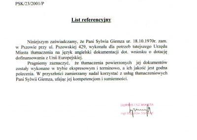 List referencyjny-UM Pszów Biuro Tłumaczeń Lancelot