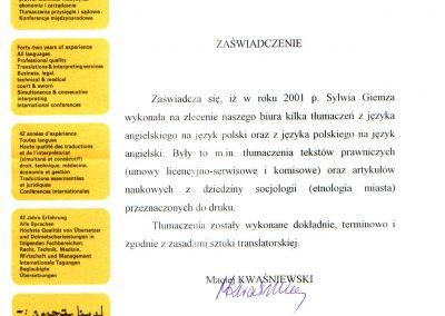 List referencyjny-ZespółTłumaczy Biuro Tłumaczeń Lancelot